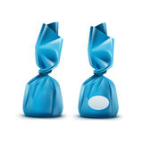 Vector Chocolate Candy in Light Blue Glossy Wrapper on Background Stock Photography