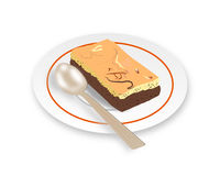 Vector - Chocolate cheese brownie and cool tea. Cool tea(Thai style) and chocolate cheese brownie on dish Stock Images