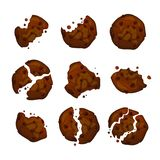 Vector chocolate chip cookies. Cookie with chocolate crumbs isolated on white background. Vector chocolate chip cookies. Homemade chocolate cookies vector stock illustration