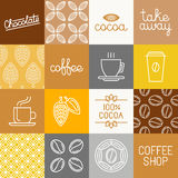 Vector chocolate, cocoa and coffee icons Stock Photos