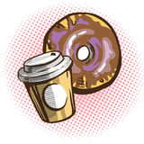 Vector chocolate donuts and cup of coffee. Cartoon pop art comic style. vector illustration