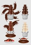 Vector chocolate fountain machine icon set Royalty Free Stock Photos