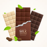 Vector Chocolate Package Bar Blank - Milk, White and Dark. Royalty Free Stock Photo