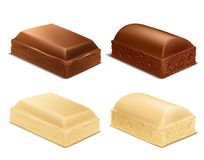 Vector chocolate pieces, brown and white milk bars Royalty Free Stock Image