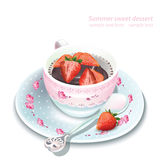 Vector chocolate strawberry mousse in a mug. Summer delicious desserts Royalty Free Stock Images