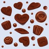 Vector chocolate sweet hearts Royalty Free Stock Images
