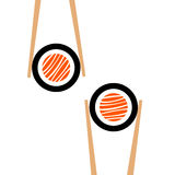 Vector chopsticks hHolding sushi roll frame. On white background Stock Photos