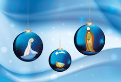 Vector christian nativity scene with Mary , Joseph , Jesus in christmas balls on elegant blue background Stock Photo
