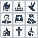 Vector Christian religion icons. Set Royalty Free Stock Photography