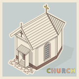 Vector Christian small church, isometric perspective, isolated on white background. Stock Photo