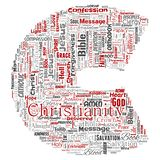 Vector christianity, jesus, bible, testament letter font C. Vector conceptual christianity, jesus, bible, testament letter font C red  word cloud isolated vector illustration