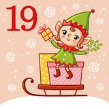 Vector christmas advent calendar in childrens style. Stock Image