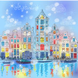 Vector Christmas Amsterdam canal and dutch houses royalty free stock image