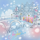 Vector Christmas Amsterdam canal and typical houses royalty free stock image