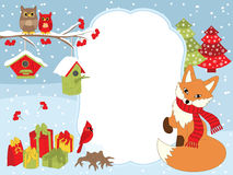 Free Vector Christmas And New Year Card Template With A Fox, Owls, Cardinal, Birdhouses And Gift Boxes On Snow Background. Stock Photo - 94422920