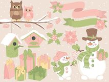 Free Vector Christmas And New Year Set With Snowmen, Owls And Festive Winter Elements Royalty Free Stock Image - 103879756