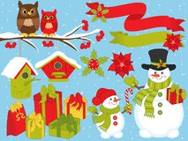 Free Vector Christmas And New Year Set With Snowmen, Owls And Festive Winter Elements Royalty Free Stock Images - 103880239