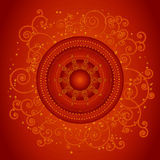 Vector christmas background. Red christmas background with golden spirals,vector illustration Stock Images