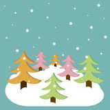 Vector christmas background. With christmas trees on it stock illustration
