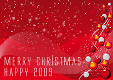 Vector christmas background. Abstract vector illustration of a red background with balls, lines and snowflakes Stock Photos