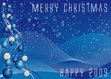 Vector christmas background. Abstract vector illustration of a blue background with balls, lines and snowflakes Stock Illustration
