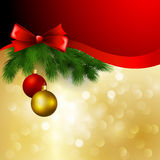 Vector christmas background with  bow and balls Royalty Free Stock Photos