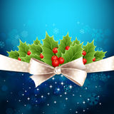 Vector christmas background with  bow and holly Royalty Free Stock Photos