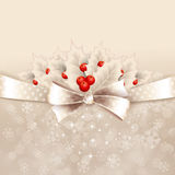 Vector christmas background with  bow and holly Royalty Free Stock Photo