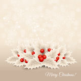 Vector christmas background with  bow and holly Royalty Free Stock Image