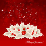 Vector christmas background with  bow and holly Royalty Free Stock Photography