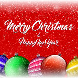 Vector Christmas background with colorful balls, snow and snowflakes. Stock Photos