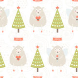 Vector christmas background with cute sheep and Stock Photo