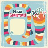 Vector Christmas background with funny socks for Stock Image