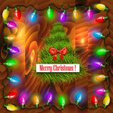 Vector Christmas background with garland. Royalty Free Stock Photo