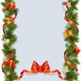 Vector Christmas Background with Gifts Stock Photography