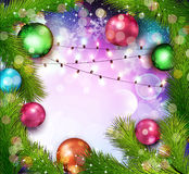 Vector Christmas background with glowing garland Stock Photo