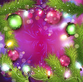 Vector Christmas background with glowing garland Stock Photos