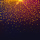 Vector Christmas background with gold falling stars and light glare Stock Photography