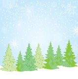 Vector Christmas Background. Vector illustration of Christmas background with trees and snowflakes Stock Photo