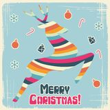 Vector Christmas background with jumping stylized Stock Image