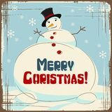 Vector Christmas background with a large snowman Royalty Free Stock Photo