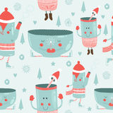 Vector christmas background with mugs. Vector christmas background with cute mug of tea, glass, kettle, tree, snowflakes, and love. Seamless new year pattern Royalty Free Stock Images