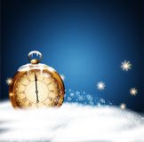 Vector Christmas background with old clocks, snow, snowflakes  Stock Images