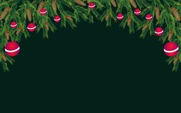Vector Christmas background with pine branches stock illustration