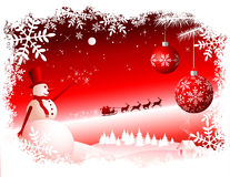 Christmas Background. Illustration of decorative red Christmas background with snowman, Santa Claus, reindeer, baubles and snowflake border Stock Photography
