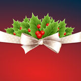 Vector christmas background with ribbon and holly Stock Image