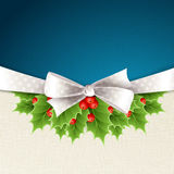Vector christmas background with ribbon and holly Royalty Free Stock Photo