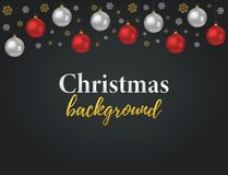 Vector Christmas background with 3d realistic red, silver balls royalty free stock photo