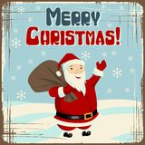 Vector Christmas background with Santa holding big Royalty Free Stock Photo