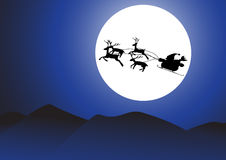 Vector : Christmas background santa and moon. Royalty Free Stock Photo